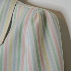 Vintage 80's Pastel Striped Puff Sleeve  B…